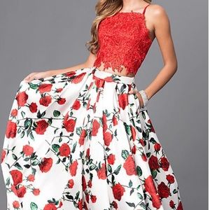 Dave and Johnny red and white floral prom dress